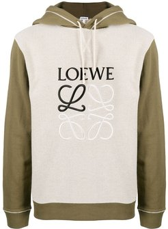 embroidered anagram hoodie - Green