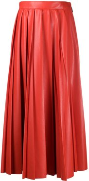 faux-leather pleated skirt - Red