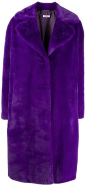 oversized faux-fur coat - PURPLE
