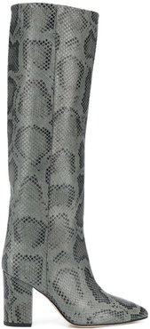 snakeskin print high boots - Grey