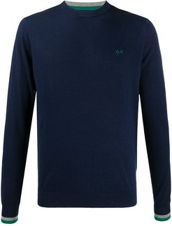 logo embroidered crew neck jumper - Blue