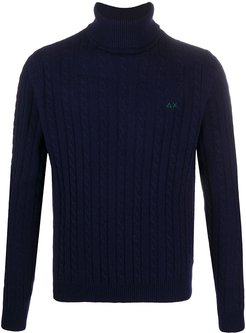 cable-knit roll-neck jumper - Blue