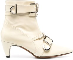 multi-buckle ankle boots - Neutrals