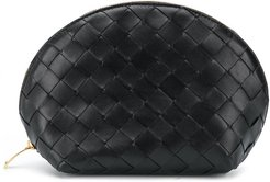 Intrecciato weave make-up bag - Black