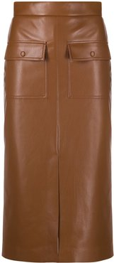 faux leather pencil skirt - Brown