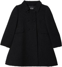 double-breasted flared coat - Black