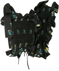 floral-print ruffled top - Black