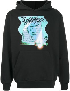 graphic-print long-sleeved hoodie - White