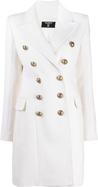 double-breasted button front coat - White