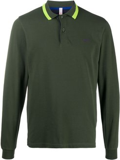 long sleeved polo shirt with contrast detail - Green