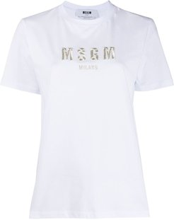 logo-embroidered T-shirt - White
