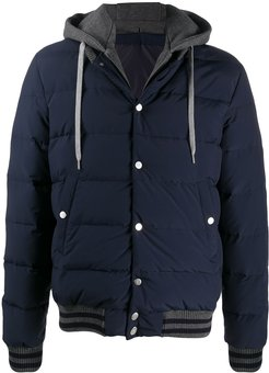 padded jacket with removable hood - Blue