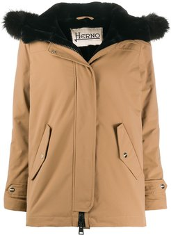 shearling-lining hooded jacket - Neutrals