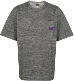 oversized butterfly embroidered T-shirt - Grey