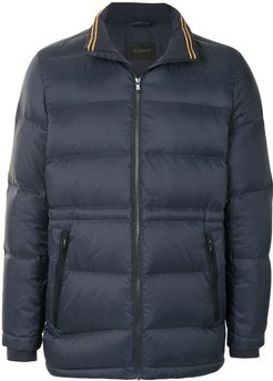 high-neck quilted jacket - Blue