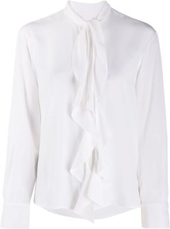 ruffle front pussy-bow shirt - White
