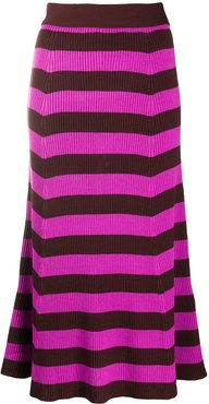 striped ribbed mid-length skirt - PINK