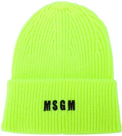 logo-embroidered ribbed knit beanie - Yellow