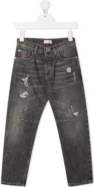 straight leg distressed-effect jeans - Grey