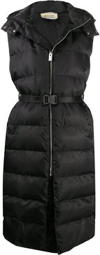 buckle-waist longline quilted gilet - Black