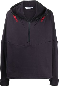 embroidered detail high neck hoodie - Blue
