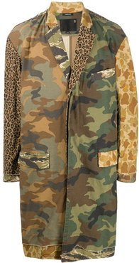 animal camouflage print single-breasted coat - Neutrals