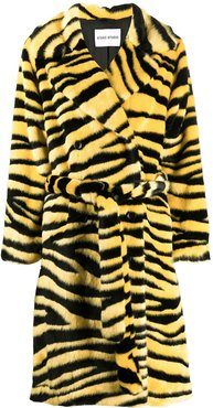 double-breasted tiger coat - Black