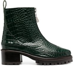 Chris crocodile embossed ankle boots - Green