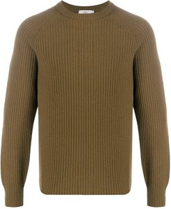 ribbed knit crew jumper - Brown