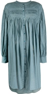 shirred-yoke shirt dress - Blue