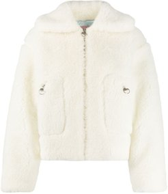 hooded shearling jacket - White
