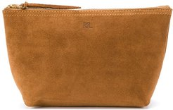 small suede clutch bag - Brown
