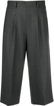 wide-leg checked shorts - Blue