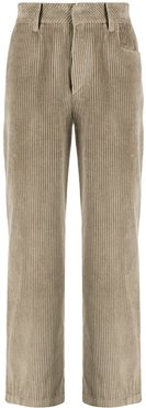 logo-embroidered wide-leg corduroy trousers - Brown