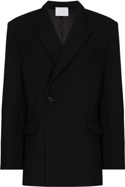 notched-lapel double-breasted blazer - Black