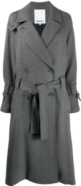 belted mid-length trench coat - Grey