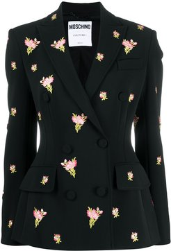 floral embroidery double-breasted blazer - Black