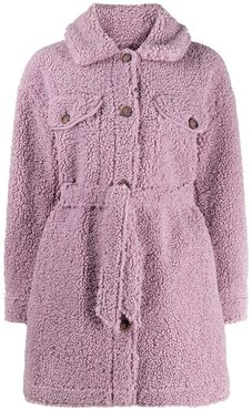 belted faux-shearling coat - PURPLE