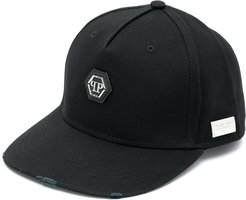 skull-embroidered baseball cap - Black
