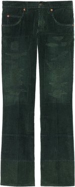 washed-effect corduroy wide-leg trousers - Green