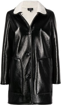button-down fitted coat - Black