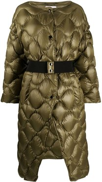 belted down coat - Green