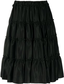 tiered knee-length shorts - Black