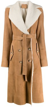 shearling-lined trench coat - Brown