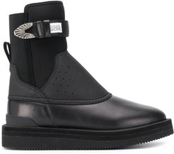 perforated panel ankle boots - Black