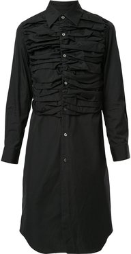 ruched shirt dress - Black