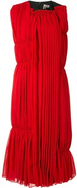 pleated midi dress - Red