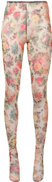 Faded Memory floral print tights - Yellow