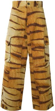 tiger print wide trousers - Yellow