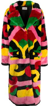 abstract-print faux fur coat - Red
